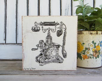 Bedroom Decor, Vintage style sign, Rustic Wood Sign, Antique Telephone Print, Country Home Decor, Wall art print, Bohemian Art, Retro Chick