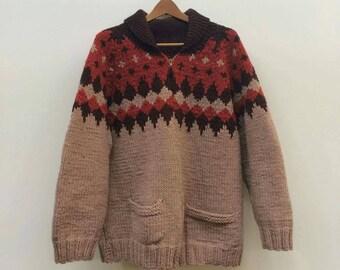 Vintage Patterned Cowichan Sweater XL