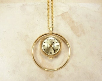 ON SALE Rare women's watch necklace - Working small gold watch - Gold watch pendant Chaika - Gold plated AU5