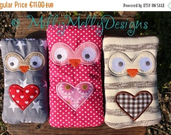 30% JULY SALE Owl phone pouches SET of 6 sizes - 5x7 hoop - Ith - In The Hoop - Machine Embroidery Design File, digital download
