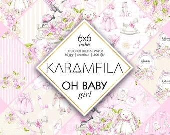 Baby Girl Digital Paper, Baby Scrapbook Paper, Baby Planner Stickers, Floral Digital Paper Baby Seamless Patterns, Baby Shower Nursery Paper