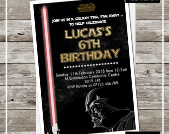 PRINTED & DELIVERED | 12x Star Wars Birthday Invitations | For Boy or Girl | Any Age | Any Message | Jedi | Yoda StarWars
