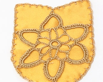 Gold Knitted Chenille Sew On Patch