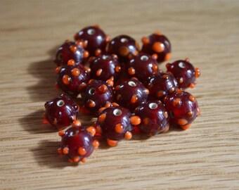 Set of 4 10mm lampwork glass beads