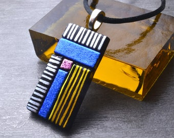 Dichroic Glass Pendant, Modern Necklace, Blue, Pink, Silver, Gold, Fused Glass, Handmade Jewelry, One Of A Kind