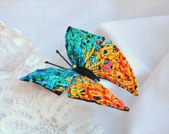 Turquoise yellow butterfly felt brooch Embroidery insect fabric pin Butterfly summer accessory Unique colorful hand made textile jewelry