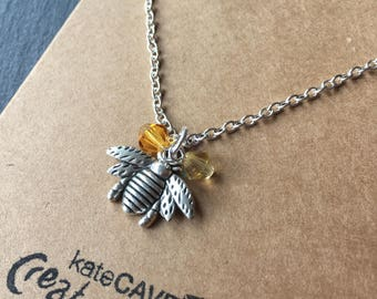 Silver bee necklace, Bee gift, Beee jewellery, Stocking Filler
