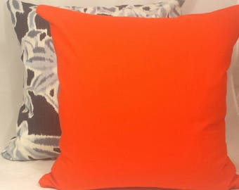Bright Orange Canvas Cushion Cover. Multiple sizes available.
