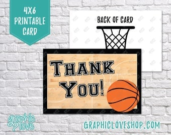 Printable 4x6 Basketball Thank You Card - Folded or Postcard | High Res Digital JPG Files, Instant Download, NOT Editable, Ready to Print