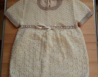 Hand knit baby dress, Super soft baby 4ply, woollen baby dress. Ready to ship