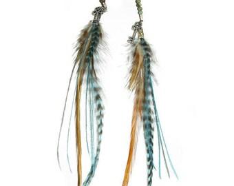 "Natural feather earrings, ""Secret Spirit"" creative jewel"