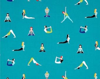 Yoga Good Postures Celestial Turquoise Namaste Yogi Cotton Fabric from the Namaste Collection by Michael Miller Fabrics