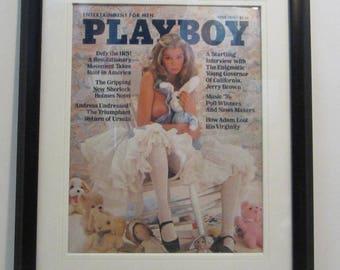 Vintage Playboy Magazine Cover Matted Framed : April 1976 - Kristine De Bell