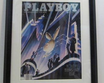 Vintage Playboy Magazine Cover Matted Framed : January 1988 - Rabbit Head