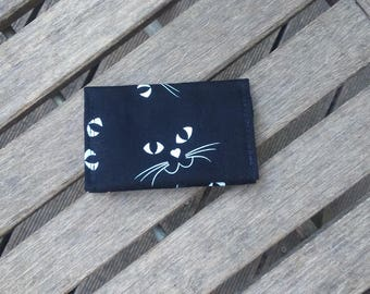 Black with luminous white cats card holder