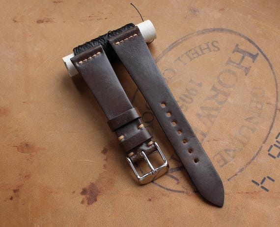 Dark Brown Horween Shell Cordovan watch band - simple stitching