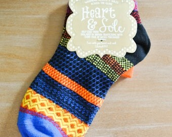 Black Heel and Royal Blue Toe Crew Socks/Gift for Mom/Gift for Friend/Cotton Blend/Comfortable/Casual/Yellow/Black/Orange