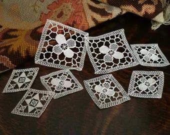 8 pieces Antique traditional french cotton lace, 100% made by hands, Vintage circa 1920s.8pcs in 3 designs