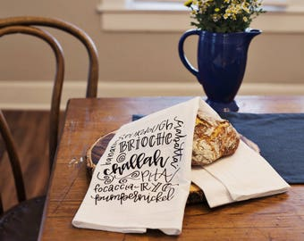 Ode to Bread Hand Lettered Decorative Tea Towel PREORDER