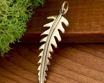 Sterling Silver, Leaf Pendant, Solid Fern, Leaf Charm, Solid Leaf, Fern Pendant, Fern Charm, Silver Leaf Charm, Silver Fern Charm