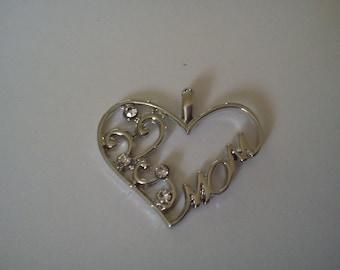 Mom silver white Rhinestone Heart Pendant 1