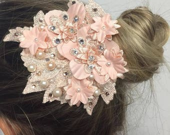 peach and white flowers headpiece