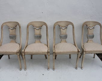 Italian  Hollywood Regency Carved  Wood Dining Chairs Set Of -4.