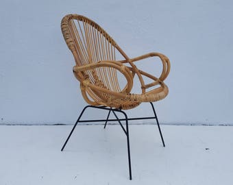 Vintage Franco Albini  Style Rattan Accent Chair.