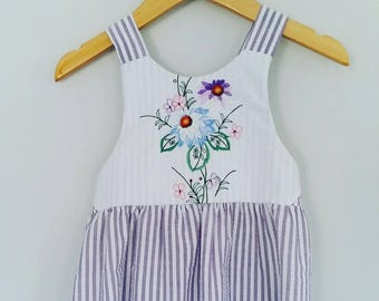 Size 3 - Purple Vintage Upcycled Embroidered Dress