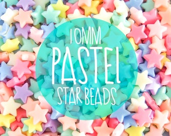 10mm Pastel Star Beads. Plastic / Resin Candy Beads - 100pieces.