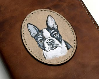 Personalized Leather Journal for Boston terrier lovers Refillable Cover for Moleskine Cahier Notebook Travel Journal Diary