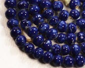 Blue cobalt beads 50 pc Sphere Ceramic Bead craft supplies for Jewelry making for bracelets for earrings ceramic beads