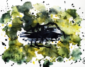 Original watercolor, Black Hole, Mind, abstract, original painting, watercolor, abstract art, art, painting