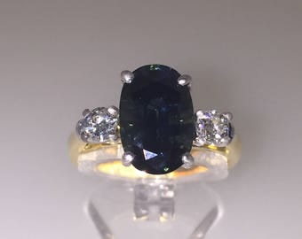 5.12ct Blue Green Sapphire and Diamond Cocktail Ring in 18K White & Yellow Gold