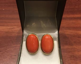 18K Yellow Gold & Mediterranean Red Coral Earrings. Italy, circa 1960's.