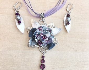 Purple, gray and silver flower set with Swarovski crystal