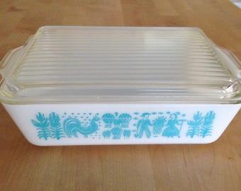 Pyrex Butterprint covered casserole/refrigerator dish/Turquoise Butterprint #503