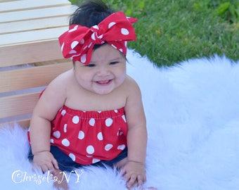 RED POLKA DOT Flutter Tops, baby tops, girls tops, off the shoulder tops, flutter baby tops, tops, flutter girls tops