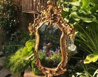 Large Gold Ornate Mirror, Victorian Era Wall Mirror, Antique Gold Mirror, Baroque Rococo Style Mirror, Chunky Wood Mirror