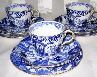Royal Crown Derby - Blue Mikado - Teacup Trios (9pcs)