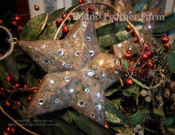 Handmade Handpainted Gilt Wooden Mache Christmas Tree Jeweled Stars