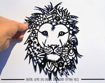 Zentangle Lion paper cut svg / dxf / eps files and pdf / png printable for hand cutting. Digital download. Small commercial use ok