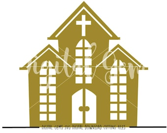 Church svg / dxf / eps / png files. Digital download. Compatible with Cricut and Silhouette machines. Small commercial use ok.