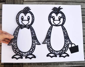 Mr and Mrs Penguin paper cut svg / dxf / eps / files and pdf printable templates for hand cutting. Digital download. Small commercial use ok