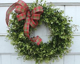 Christmas Boxwood Wreath, Holiday Wreath, Boxwood Wreath, Christmas Door Wreath, Holiday Decor, Outdoor Wreath, Wreath for Door, Wreaths