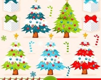 80% OFF SALE Christmas tree clipart, Christmas clipart, Christmas stocking clipart, commercial use - CA289