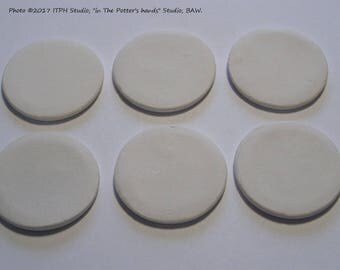 "6 pcs fired bisque 37mm 1.5"" diffusers ceramic blank disc Refill aromatherapy, clay insert. ITPH pottery diy decals painting jewelry sachets"