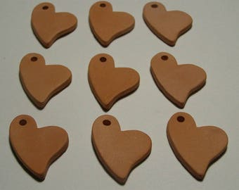 "9 pc Bisque Hearts 1.25"" 32mm gift tags diffusers aromatherapy jewelry; paint your own kids; DIY sachets charms ITPH ceramic kiln fired clay"