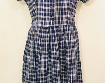 Vintage navy checked folk dress