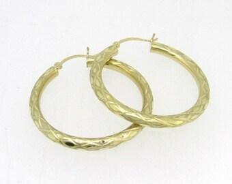 14k Gold Round Hoops Huggies Earrings
